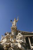 Parliament building with sculpture, Government building, Vienna, Austria