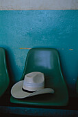 A Panama hat on a chair in the bus station, Puerto Escondido, Oaxaca, Mexico, America