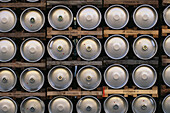 Rows of beer barrels, Spaten Brewery, Munich, Bavaria, Germany