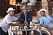 Three local men with transport cycles, Oxkutzca Market, Yucatan, Mexico