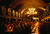 Guests in wine cellar of the Residence, Wuerzburg, Bavaria, Germany