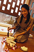 Woman of spa area, Oriental Hotel, Bangkok, Thailand