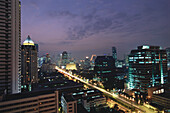 Sathorn Road at night with highrise buildings, Illuminated, taken from Hotel Banyan Tree Spa, Cityscape, Bangkok, Thailand