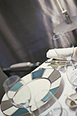 Close up of a set table with plate and cutlery, Restaurant Alain Ducasse, Hotel, Plaza Athenee, Paris, France