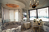 Marble Bathroom suite and a whirlpool in Suite la belle Etoile, Luxury Hotel Le Meurice, Accomodation, Paris, France