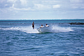 A person waterskiing, Water sports, Sea, Mauritius, Africa
