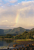 Rainbow above mountains at the coast, Sea, Natural Beauty, Landscape, Mauritius, Africa