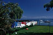 Washing on the washing line at Fraueninsel, Lake Chiemsee, Bayern, Germany
