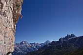 Alpine climbin, Dolomites, Italy