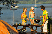 At the lakeshore, Family having a barbecue at Lake Attersee, Upper Austria, Austria