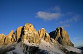 Langkofel, Fünffingerspitze und Grohmannspitze vom Sellajoch, Dolomiten, Südtirol, Italien