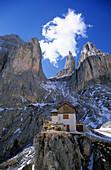 alpine hut Preusshütte in Rosengarten range, Dolomites, South Tyrol, Alta Badia, Italy