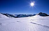 On Glacier Hintereisferner with view to valley Ötztal, Ötztal range, Tyrol, Austria