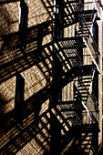 Fire escape stairs in SoHo, New York City, New York, USA