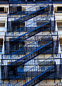 Fire escape ladders, SoHo, New York City, New York, USA