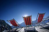 Three deck chairs, alpine hut Bella Vista, Schnals Valley, South Tyrol, Italy