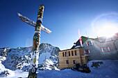 Totem pole, alpine hut Bella Vista, Schnals valley, South Tyrol, Italy