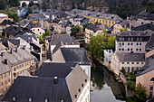 The river Alzette between historical buildings, Luxemburg