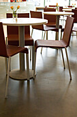 Tables and chairs in an empty Cafe, Luxemburg