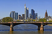 Frankfurt skyline with Main river and Commerzbank, Frankfurt, Hesse, Germany