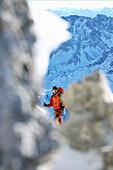 Mountaineer on a ridge, Ehrwald, Wetterstein Range, Tyrol, Austria