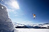 Skier jumping, See, Tyrol, Austria
