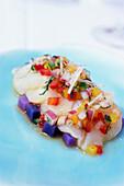 Scallops tiradito with exotic vegetables, Restaurant Norman's, Coral Gables, Miami, Florida, USA