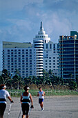 Morning Fitness on Beach, South Beach, Miami, Florida, USA