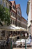 Outdoor Cafe in Downtown Fulda Pedestrian Mall, Fulda, Hesse, Germany