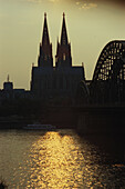 Cologne Cathedral and Hohenzollern bridge, Cologne, North Rhine-Westphalia, Germany, Euorpe
