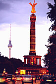 Victory Column and Television Tower in the evening, Berlin, Germany