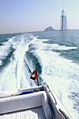 Speed boat in front of the Dubai coast, Dubai, United Arab Emirates, UAE