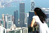 Girl enjoying the view over Hong Kong, China