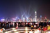Laser show at Night, Hong Kong, China