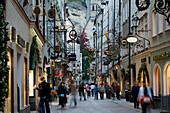 Shopping street Getreidegasse, Salzburg, Salzburg Stage, Austria