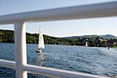 Sailboats on Rursee reservoir, Eifel, North Rhine-Westphalia, Germany