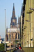 Cologne Cathedral and Hohenzollern Bridge, Cologne, North Rhine-Westphalia, Germany