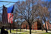Flag hanging outside Harvard University, Cambridge, Massachusetts, USA