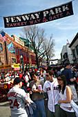 Fans about to watch a baseball game, Gameday, Fenway Park, Yawkey Way, Boston, Massachusetts, USA