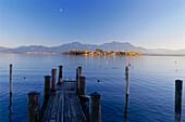 Jetty at Lake Chiem, Frauenchiemsee, Chiemgau, Bavaria, Germany