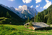 Chalet at Bindalm, Muehlsturzhoerner peaks in background, Berchtesgaden National Park, Bavaria, Germany