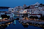 Harbour city at night, Crete, Greece