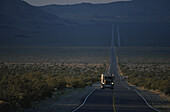 Truck on HWY 127, Death Valley, California, USA