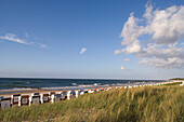 Beach with beach charis, Kuehlungsborn, Mecklenburg-Western Pomerania, Germany