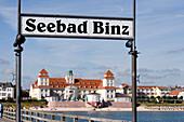View over pier to spa hotel, Binz, Rugen island, Mecklenburg-Western Pomerania, Germany