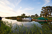 Boats anchoring at Achterwasser, Liper Winkel, Usedom island, Mecklenburg-Western Pomerania, Germany