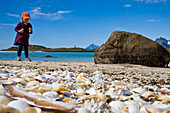 A child, girl collecting sea shells on the beach of Store Molla Island, Lofoten, Norway