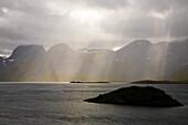 Rain and sunbeams in Selfjord, Flakstad Island, Lofoten, Norway