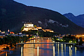 View over river Inn to Kufstein Fortress at night, Kufstein, Tyrol, Austria