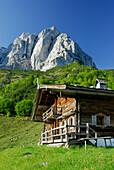 Alpine hut with mount Maukspitze in background, Wilder Kaiser range, Kaiser range, Tyrol, Austria